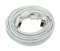 VGA Cable 15m/15m (папа-папа) экранированный 10m High Quality 8mm белый (2 фер. кольца)