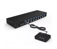 KVM Switch 8 port USB 2.0, 1920-1440 250MHz  MT-801UK ViKI + Выносная консоль для управления 2м.