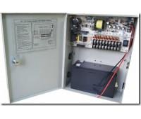 Блок питания металл Ящик, 100-240V, Output: DC 12V 10A + battery, 205x270x85, 9 каналов