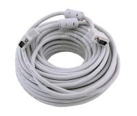 VGA Cable 15m/15m (папа-папа) экранированный 30m High Quality 8mm Серый CU-медный  (2 фер. кольца)