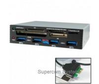 3.5'' ALL in 1 (Multi Flash Card reader&writer) USB 3.0 HUB 4 Port PCI-E int. ICR-001