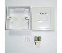 AMP Розетка  (комплект!)  Настенно-Внутренняя 2-портовая RJ-45 (Вставка*2, Коробка, лицевая панель)