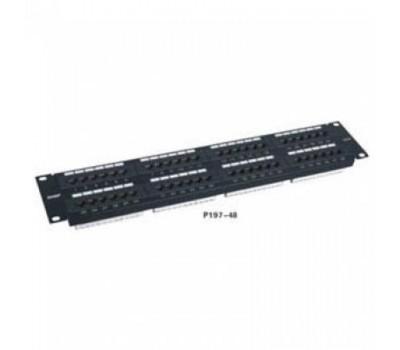 "Patch panel 48-port  RJ-45, для 19"" стойки, 2U, Cat. 5e, P197-48, SHIP"