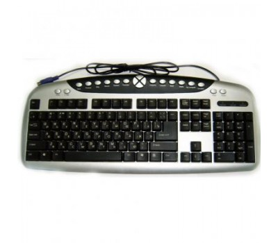 KeyBoard PS/2, TP-358C, Multimedia (серебристо-чёрная) rus/lat 124key