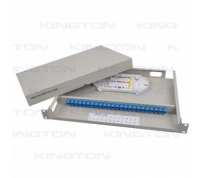 Кросс оптический для 19'' стойки, 1U SC/UPC 24 port выдвижная на салазках, пигтейлы, разъемы, т.м.