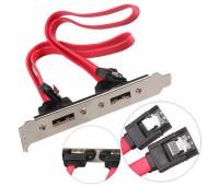 SATA to 2-ESATA планка (SATA разъём в материнскую -  задняя шторка под информационный кабель 2ESATA)