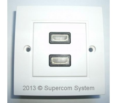 Розетка HDMI 2port (лицевая часть) + 2 вставки HDMI F/F-удлинитель 86x86mm HD08-B